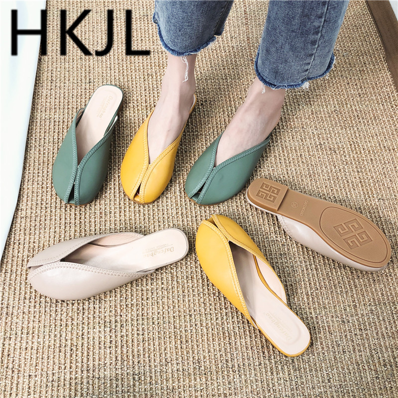 HKJL 2019 summer new fish mouth toe cap slippers Korean fashion comfortable personality wearing women 39 s shoes A497 in Slippers from Shoes