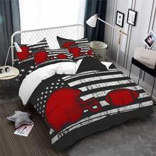 American Football Bedding Set American Flag Duvet Cover Set Rugby Cap Gloves Print Bedding Star Stripes Bedclothes Pillowcase star print full over bedding set