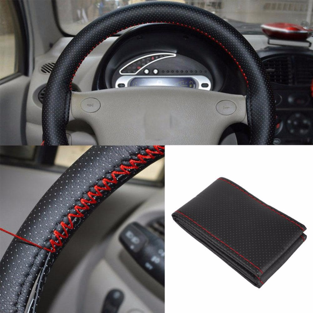 38cm new DIY Steering Wheel Covers/Extremely soft Leather braid on the steering-wheel of Car With Needle and Thread Interior acc
