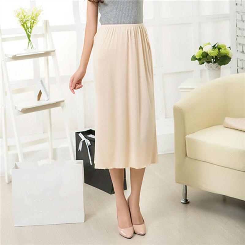 Frau Hälfte Rutscht Modal Solide Rock Petticoat Knie Länge kleid Dame Unterröcke Vestidos Sommer Günstige Röcke Unterkleid Sommer