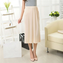 Woman Half Slips Modal Solid Skirt Petticoat Knee Length dress Lady Underskirts Vestidos bottoming skirt underdress Sleepwear