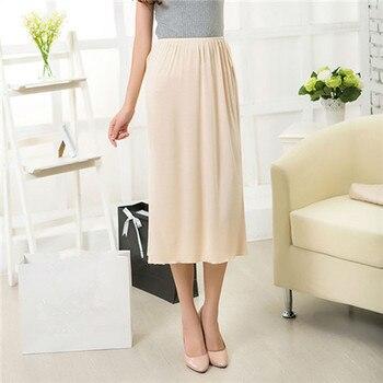 Women Half Slips Solid Casual Petticoat Skirt Knee Length Dress Lady Underskirts Vestidos Bottoming Skirts Underdress Sleepwears