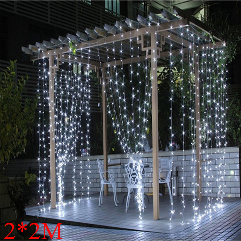 2018 2M X 2M 180 LED Outdoor Home Warm White Christmas Decorative Xmas String Fairy Curtain Garlands Party Lights For Wedding