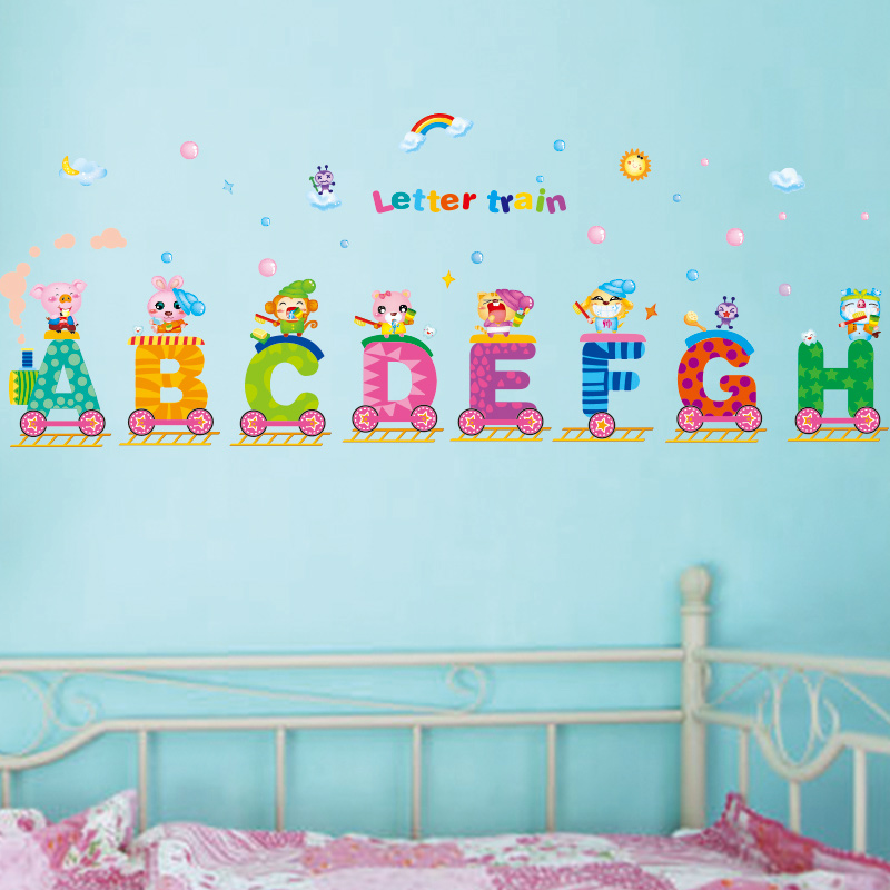 Removable english letters train wall stickers creative for Alphabet decoration