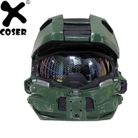 XCOSER Halo 4 Master Chief Cosplay Helmet Men Cool Game Cosplay Props Full Face Mask Costume Accessory Helmets Without Led Light