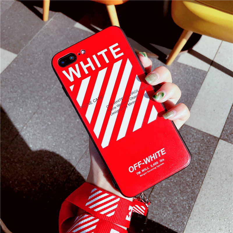 Text - Off Twill Lanyard Soft Black Tpu Phone Case for IPhone X XR XS Max 8 7 6 6S Plus White Back Cover Offwhite