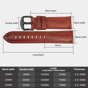 Image 2 - MAIKES bracelet de montre 20mm 22mm 24mm bracelet de montre en cuir véritable veau, accessoires de montre à boucle, en acier inoxydable