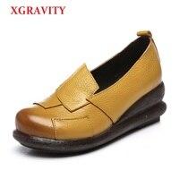 انخفاض الشحن خمر منتصف الكعب xgravity 5 سنتيمتر امرأة نمط عارضة إسفين أحذية السيدات سميكة جلد طبيعي أسافين الأحذية a012