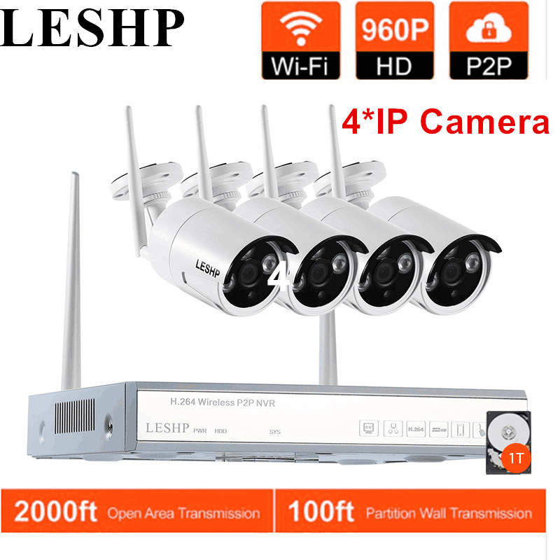 LESHP 4 pcs IP Camera Wireless Security 960P Video Recorder Wifi 4CH NVR CCTV System Night vision Waterproof Cameras With 1T HDD 4ch nvr kits full hd wifi ip camera 720p wireless waterproof outdoor 4channel wifi nvr recorder hdmi onvif cctv camera system