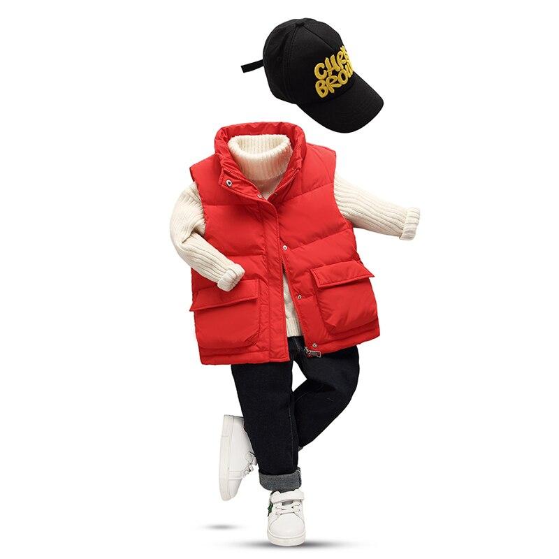 XYF1822 Girl Boy Winter 85% White Duck Down Vest Keep Warm Thicken Duck Down Waistcoat Spring Autumn Kids Jacket Child Outerwear