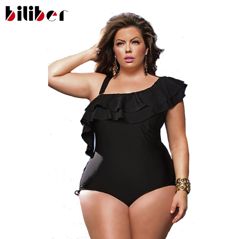 0e14d87e7b Retro Red Solid Ruffle one shoulder Plus Size swimwear asymmetrical sexy  One piece Swimsuit plus size black swimsuits One piece-in One-Piece Suits  from ...