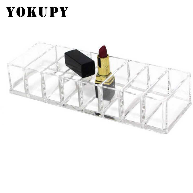 8 Lattice Clear Acrylic Eyeshadow Lipsticks Holder Makeup Brush Organizer Cosmetic Tools Storage Box Case 22x9x4.5cm 2018 New