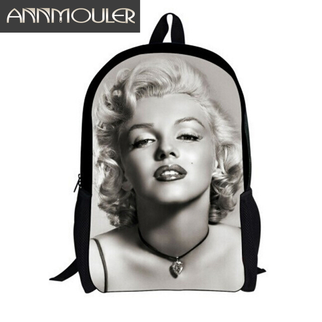 Hot Sale Women And Girls Fashion Sexy Backpacks 3D Print Marilyn Monroe Student Book Bag School