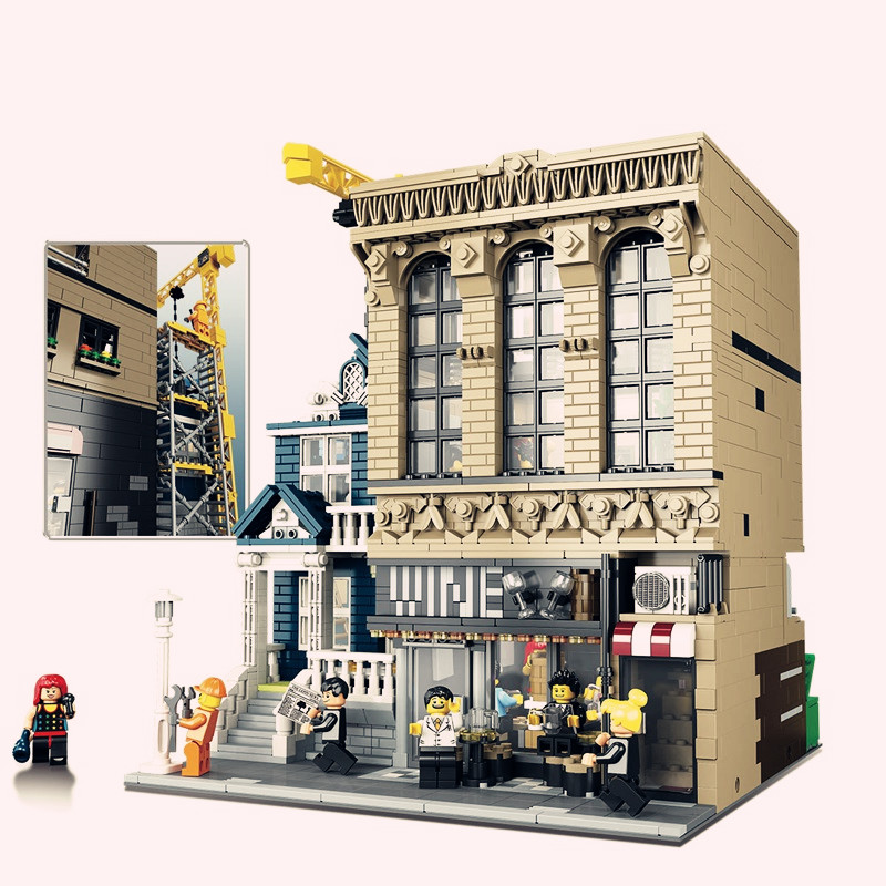 Lepingly City model Street Series the Bars and Financial Companies Set Building Blocks Bricks Educational Toys for children gift loz mini diamond block world famous architecture financial center swfc shangha china city nanoblock model brick educational toys