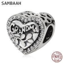 Sambaah Grandma Heart Charm with Clear CZ Stone 925 Sterling Silver Love Grandma Beads fit Original Pandora Family Bracelet стоимость