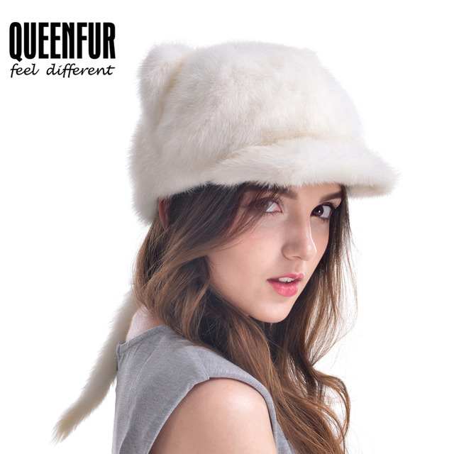Lovely Women Fur Cap Real Mink Fur Hat With Tail Genuine Fur Beanies 2016 New Design Russia Female Fur Casquette