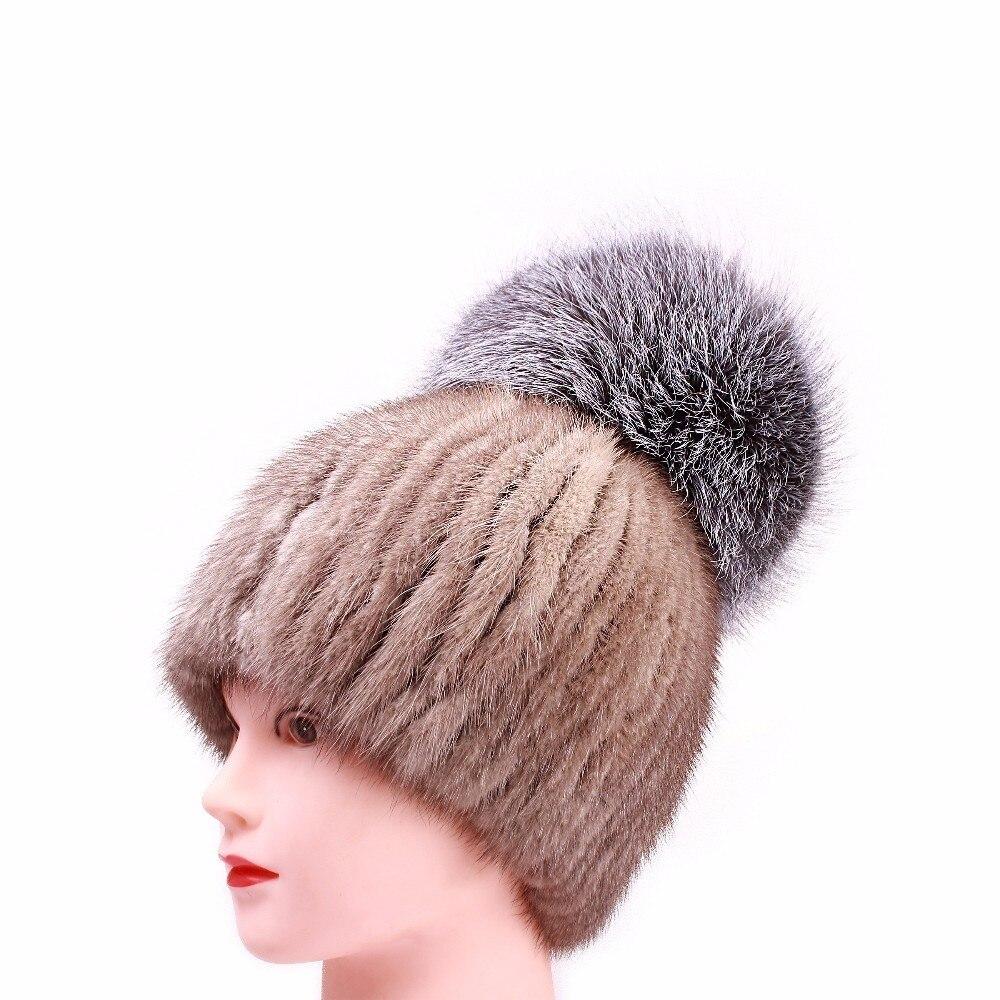 Chaud véritable vison fourrure chapeau femme femme casquette Nature tricot mode femmes hiver cagoule chapeaux filles chapeaux pour bonnets