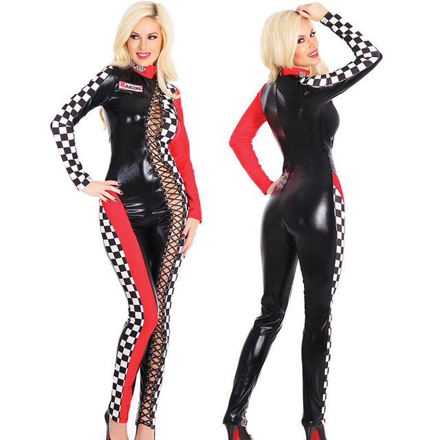 77bdc46647a5 New Arrival Women Sexy Racing suits Lace Up Plaid stitching Slim Jumpsuit  Sexy Racing Girls Costume Model Uniforms
