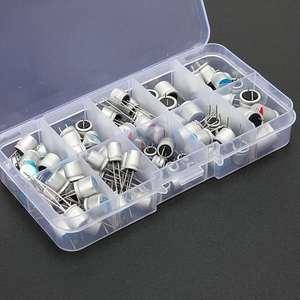Набор твердотельных конденсаторов 2,5 В/4 в/6,3 в/16 в 100 мкФ 270 мкФ 470 мкФ 560 мкФ 680 мкФ 1500 мкФ с коробкой для хранения, 10 значений, 90 шт.