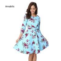 Amabilis Printed Retro Women 2017 Retro Floral Print Slim Dress Fashion Style Dresses O Neck Christmas