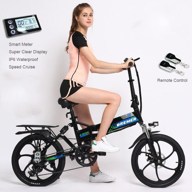 20 polegada 48 V Leve dobrar bicicleta elétrica ebike 25 kmh bicicleta viajante inteligente bicicleta dobrável de liga de Alumínio de viagem elétrica