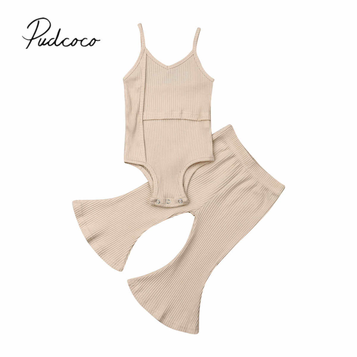 2019 Baby Summer Clothing Newborn Baby Girl Solid Sleeveless Romper Top+Long Bell Pants Bottoms Outfits Ribbed Clothes Sets 0-3Y