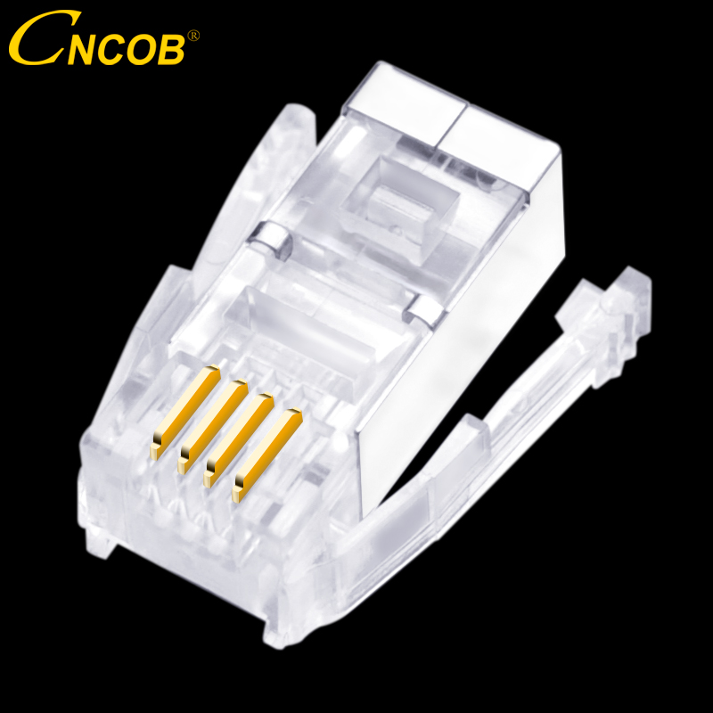 цена на CNCOB British 4P4C double shrapnel, RJ9 cable crystal head, telephone line connector special electronic equipment plug 30pcs