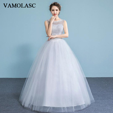 VAMOLASC Illusion Pearls O Neck Ball Gown Lace Appliques Wedding Dresses Pleat Tank Tulle Backless Bridal Gowns