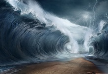 Laeacco Fulmination Huge Waves Ocean Fantasy Scene Photography Backgrounds Customized Photographic Backdrops For Photo Studio