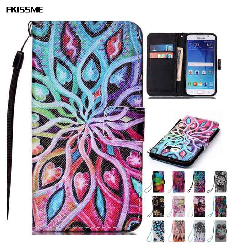 FKISSME Flower Tree Butterfly Owl PU Leather Case For Samsung Galaxy S6/S6 Edge Cover Flip Wallet Cover For Samsung S6 Bag Coque