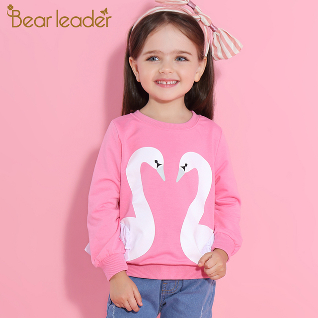 Bear Leader Girls T-Shirt 2019 New Autumn Girls Long Sleeve Tees Cute Cartoon Swan Lace Shirts Children Clothing For 3-7 Years