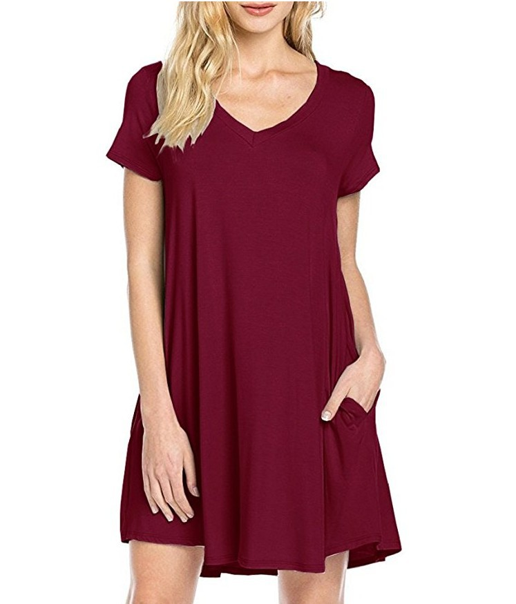 La MaxZa Loose v Neck Pure Color Pockets Casual Women Dress Jumper Summer Mini Streetwear Beach Dresses Vestidos De Fiesta