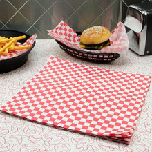 Red Checkered Food Grade Wax Coated Paper Black Check Dry Wax Paper Deli Wrap and Basket Liner BBQ Sandwich Wrap 250pcs 500pcs