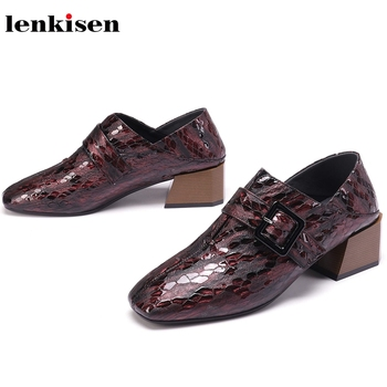 Lenkisen genuine leather fashion med heels square toe metal buckle European style mature shoes office lady deep mouth pumps L3f1