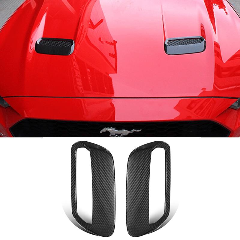 QHCP 1 paire de couverture de moteur automatique en Fiber de carbone décoration autocollant de sortie d'air pour Ford Mustang 2018 accessoires de style de voiture