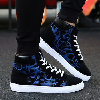 New Design Hip-Hop Fashion Graffiti High Tops Men's ShoesFlats 1