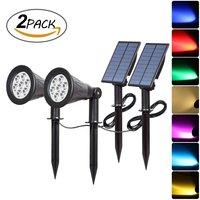 T SUNRISE 2PACK Color Changing 7 LED Solar Spotlights IP65 Waterproof Outdoor Landscape Light Separately Installed