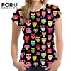 FORUDESIGNS Funny Summer T Shirts Women 3D Short Sleeve O Neck Tee Shirt Owl Printed Top