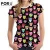 FORUDESIGNS Funny Summer T Shirts Women 3D Short Sleeve O Neck Tee Shirt Owl Printed Top