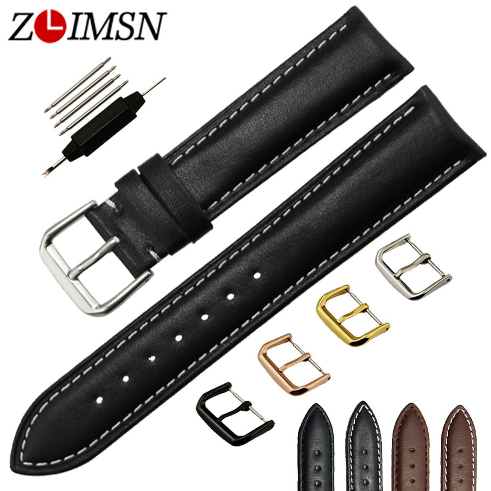 ZLIMSN Smooth Genuine Leather Watch Band Brown Black 18 20 22 24mm Watchbands Stainless Steel Pin