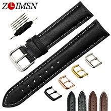ZLIMSN Suave Banda de Reloj Del Cuero Genuino Negro Marrón 18 20 22 24mm correas de Reloj de Acero Inoxidable Hebilla de Plata Negro pulido