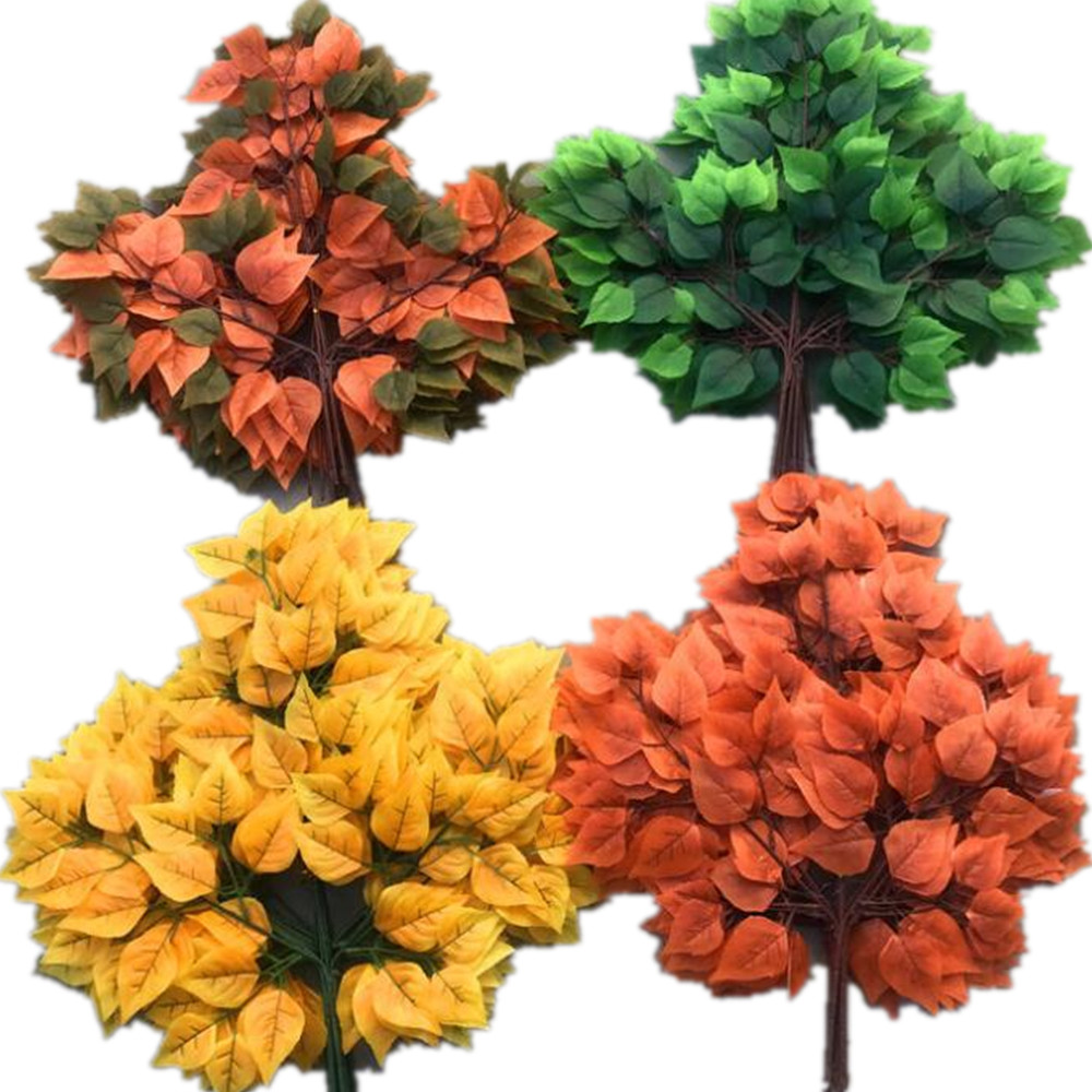 48pcs Silk Birch Leaf Stems Artificial Greenery Plant Maple Tree Branches five Colors for Greenery Wall
