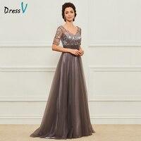 Dressv Long Mother Of The Bride Dress V Neck Short Sleeves A Line Crystal Lace Custom