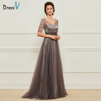 Dressv Long Mother Of The Bride Dress V Neck Short Sleeves A Line Crystal Lace Custom Wedding Party Mother Of The Bride Dress