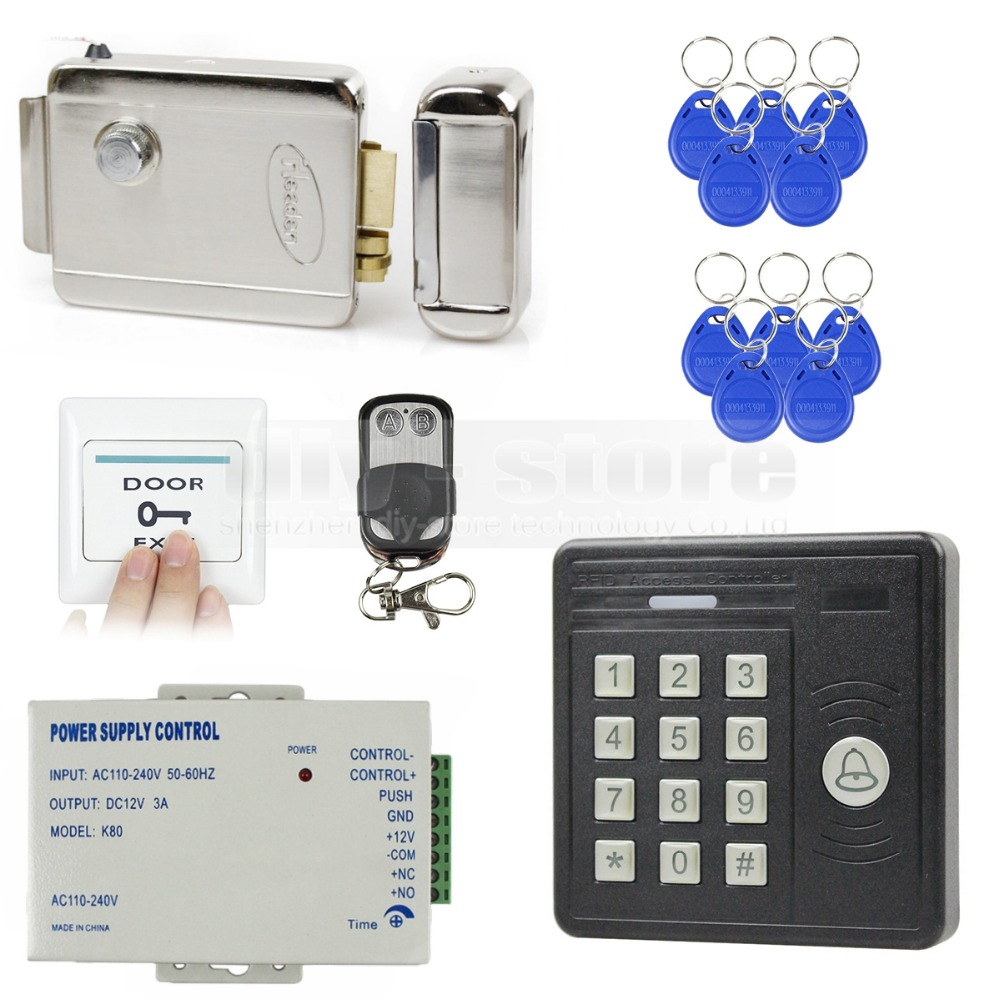 DIYSECUR Waterproof Remote Control 125KHz Rfid Card Reader Access Control Electronic Lock Door Access Control Security Kit