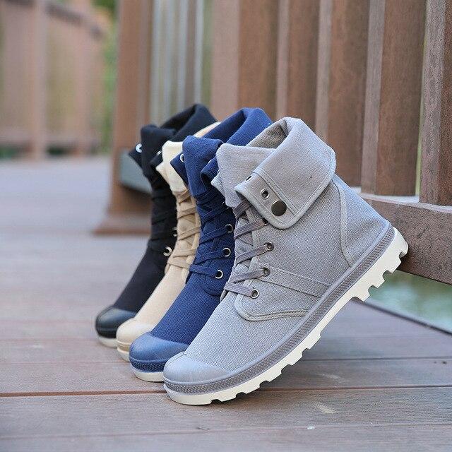 Новые 4 цвета мужчины палладий стиль мода высокие военные ботинки удобные кожаные обуви мартин мужской обуви SH009