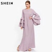 SheIn Exaggerate Layered Flare Sleeve Slit Kaftan Dress Autumn Ladies Maxi Dresses Purple Long Sleeve Loose