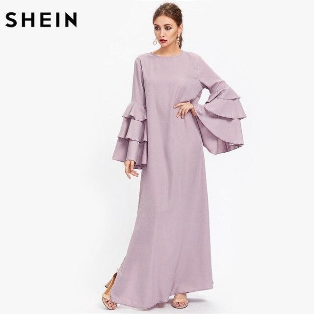 f786d25012dd SHEIN Exaggerate Layered Flare Sleeve Slit Kaftan Dress Autumn Ladies Maxi Dresses  Purple Long Sleeve Loose