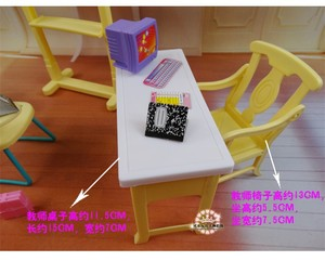Image 4 - New fashion Classroom chairs + blackboard Gift Set doll accessories doll house furniture set for barbie doll baby girls DIY toys