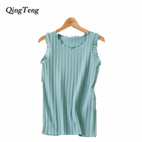 QingTeng Brand Ladies Crop Top Sleeveless Summer Elastic Women S Tank Tops Short Casual Cropped T